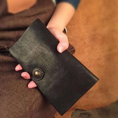 HandmadeLeather Mens Cool Long Leather Wallet Slim Travel Passport Wallet Clutch Wallet for Men