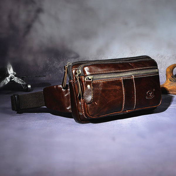 Cool Leather Mens Fanny Pack Waist Bag Hip Pack Belt Bag Bumbag for Men