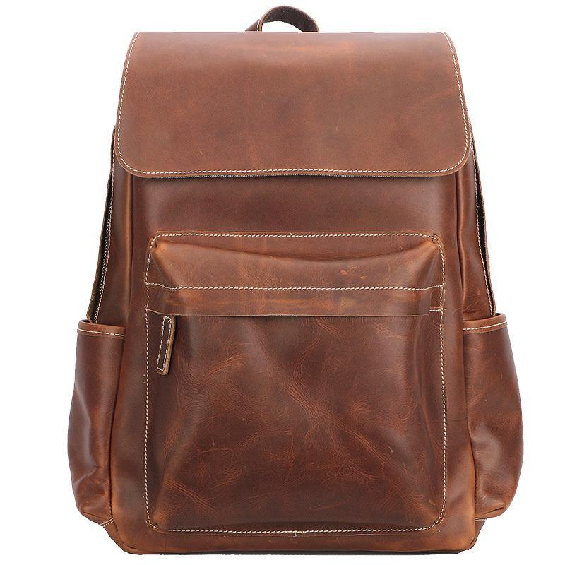 Cool Brown Leather Mens Travel Backpack Work 14'' School Backpack Work Backpack For Men