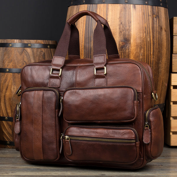 Cool Brown Leather 16 inches Travel Briefcase Side Bag Travel Handbag Luggage Bag for Men