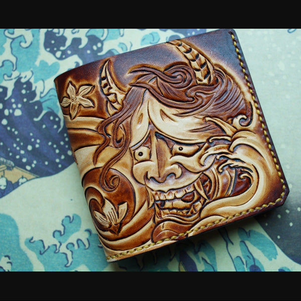 Handmade Leather Prajna Tooled Mens billfold Wallet Cool Slim Wallet Biker Wallet for Men