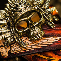 Handmade Genuine Leather Tooled Skull Mens Belt Custom Cool Leather Men Belt for Men