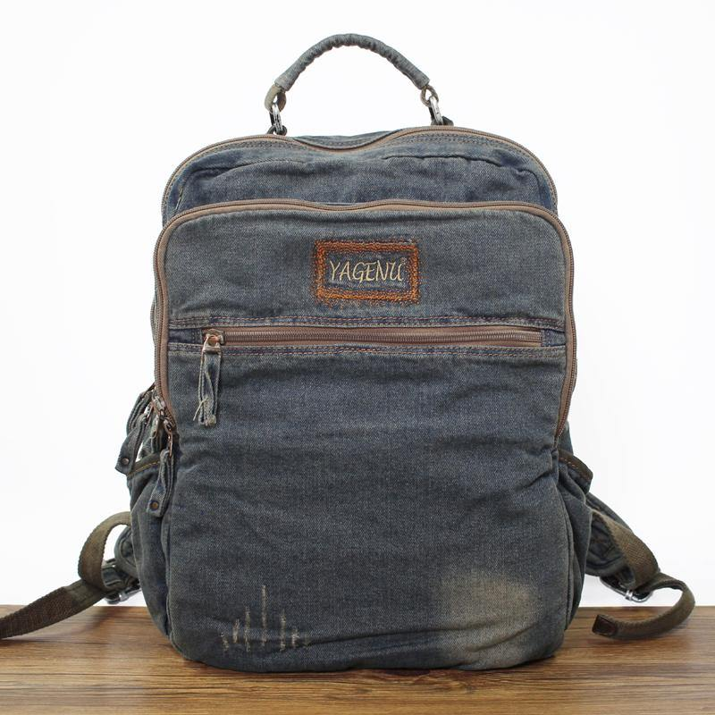 Fashion Denim Blue Mens 16 inches Backpack Multifunctional Backpacks Jean Travel Backpack For Men