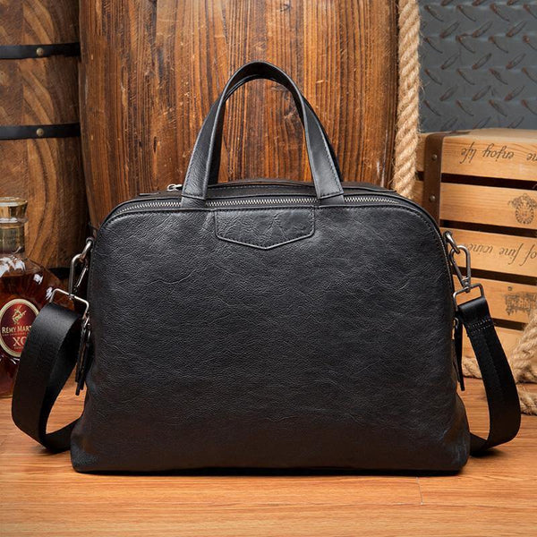 Black Cool Leather 14 inches Shoulder Bag Travel Bags Handbags Luggage Bag for Men