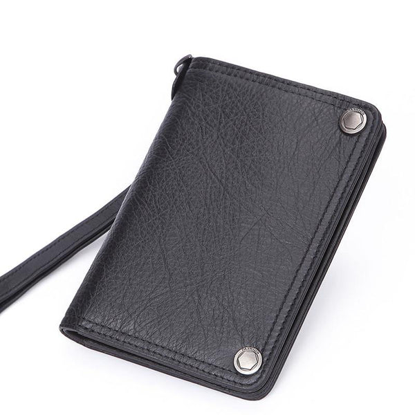 Black Small MENS LEATHER Bifold Wallet SLIM ZIPPER CLUTCH WRISTLET Brown Wallet FOR MEN