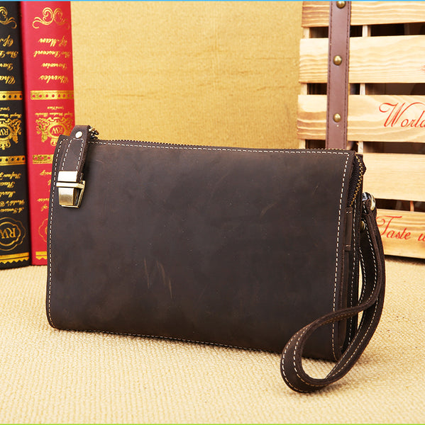 Vintage Mens Leather Clutch Bag Wristlet Bag Clutch Wallet For Men