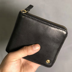 Genuine Leather Mens Cool Slim Zipper Leather Wallet Men Small Wallets Bifold for Men