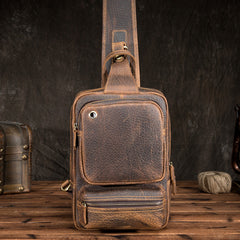 Cool MENS LEATHER CHEST BAGS SLING BAGs ONE SHOULDER BACKPACK FOR MEN