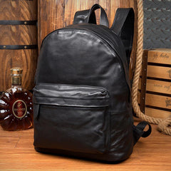 Fashion Black Mens Leather 13-inch Computer Backpacks Cool Travel Backpacks School Backpacks for men