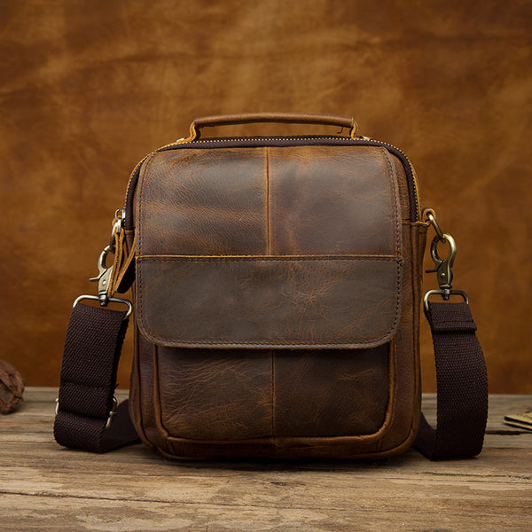 Vintage Brown Leather Mens Small Vertical Side Bags Shoulder Bags Messenger Bag For Men
