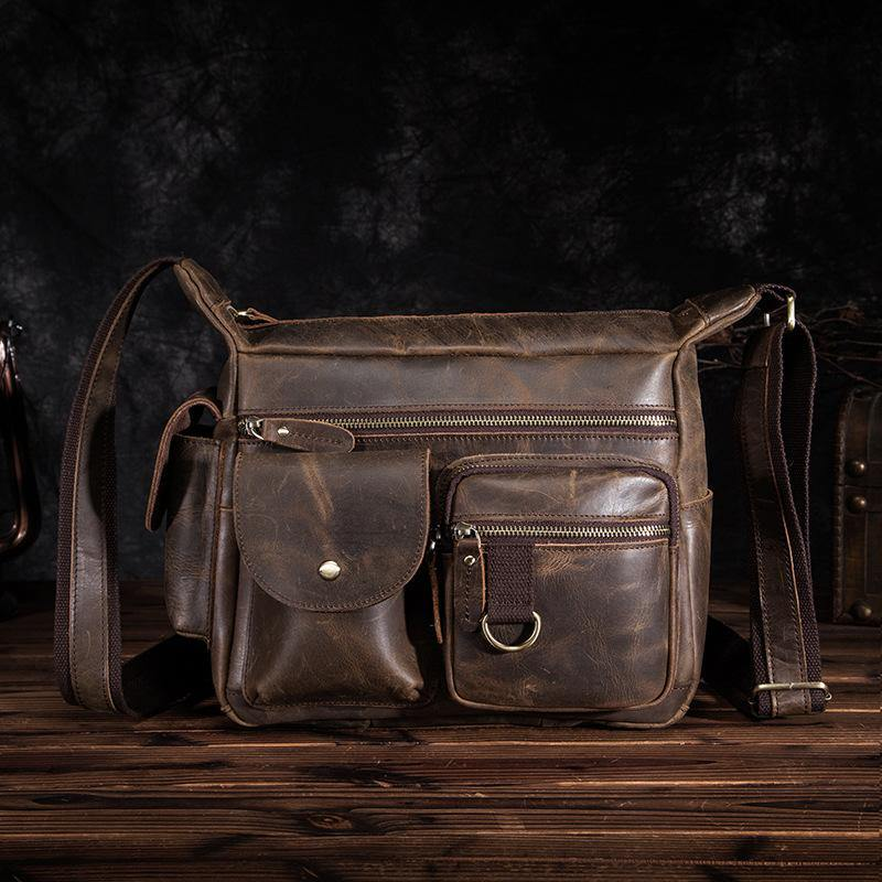 BADASS Dark Brown LEATHER MENS Small COURIER BAG Postman BAG SIDE BAG MESSENGER BAG FOR MEN