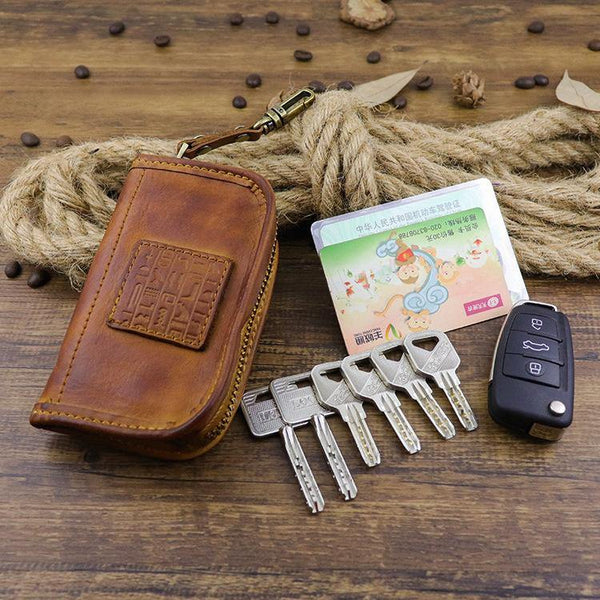 Brown Leather Men's Key Wallet Car Key Case Black Leather Key Holder For Men