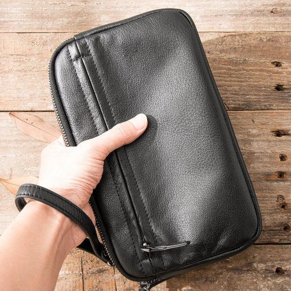 Black Leather Mens Long Zipper Clutch Wallet Wristlet Bag Long Wallet Phone Clutch Wallet for Men