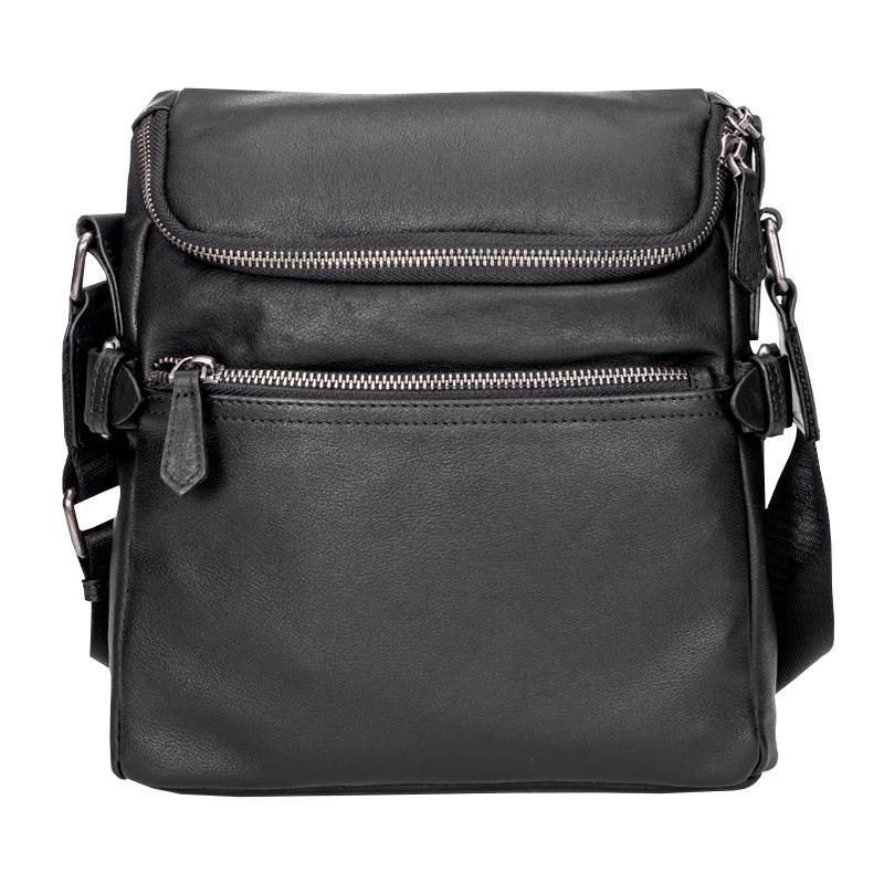 Black Soft Leather Mens 10 inches Vertical Postman Bag Black Messenger Bags Side Bag for Men