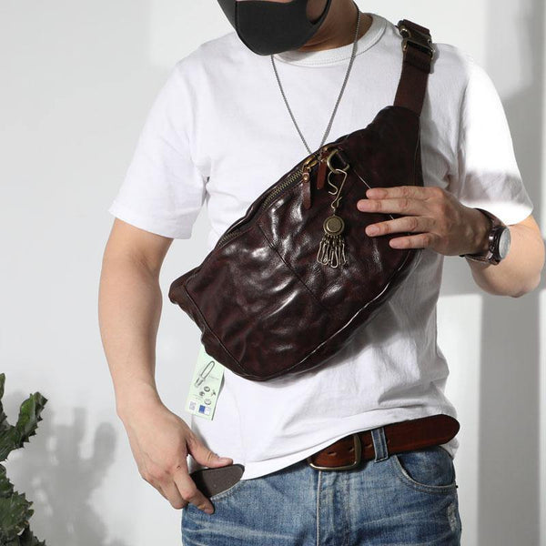 Black Cool Leather Men Fanny Pack Waist Bag Hip Pack Chest Bag Belt Bag Bumbag for Men