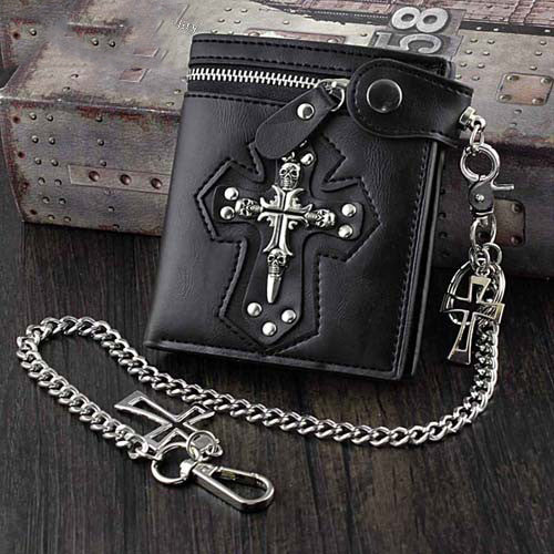 Punk Black Leather Men's Small Biker Wallet Chain Wallet Skull Cross billfold Wallet with Chain For Men