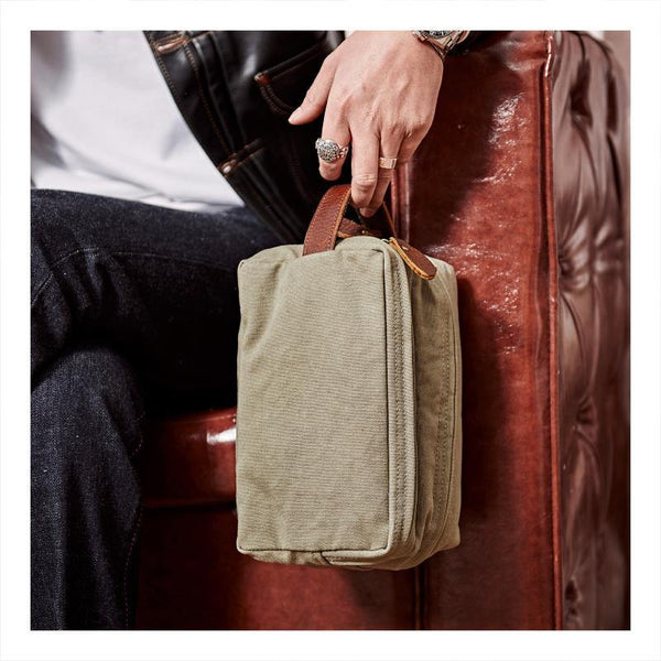 Large Canvas Leather Mens Clutch Bags Zipper Green Wristlet Bag Canvas Purse for Men