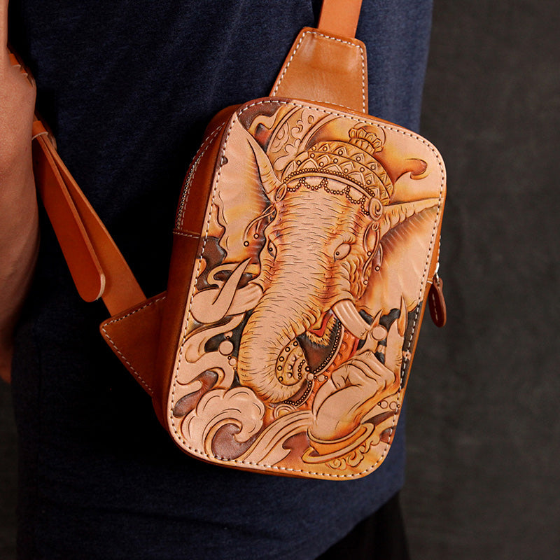 Handmade Beige Ganesha Tooled Leather Sling Bag Chest Bag One Shoulder Backpack For Men