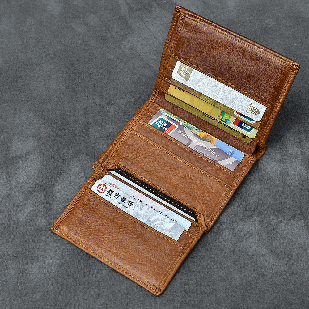 Brown Waxed Leather Mens Small Wallet billfold Trifold Card Wallet For Men