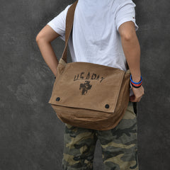 Canvas Leather Mens Large Brown Side Bag 14'' Army Green Messenger Bag Postman Bag For Men