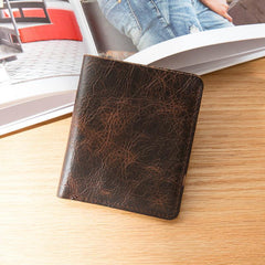 Dark Brown Leather Mens Small Wallets Bifold Vintage Short Wallet Front Pocket Wallet for Men