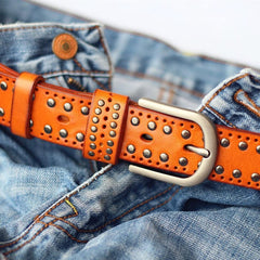 Cool Punk Rock Handmade Buckle Black Rivet Leather Mens Belts Dark Coffee Leather Belts for Men