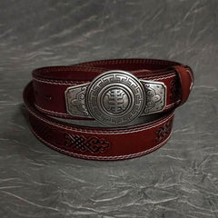 Fashion Red Brown Leather Metal Belt Motorcycle Belt Leather Biker Round Belt For Men