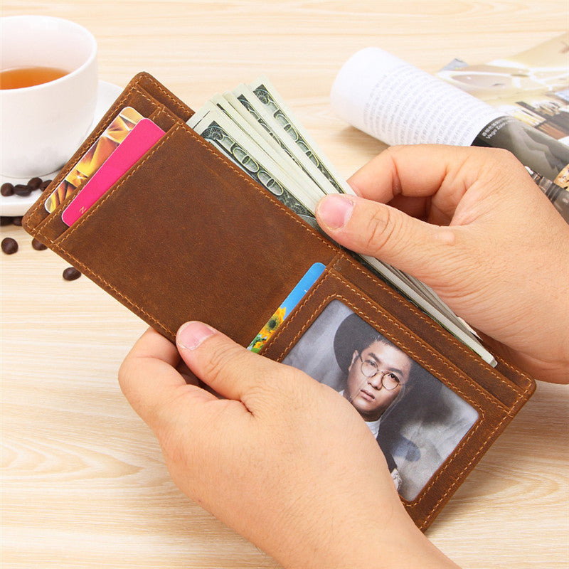 Vintage Brown Leather Men's Slim Small Bifold Wallet Front Pocket Short Wallet For Men