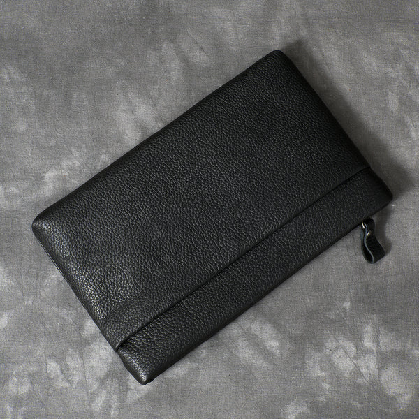 Black Leather Mens Business Clutch Bag Mini Tablet Clutch Wallet For Men