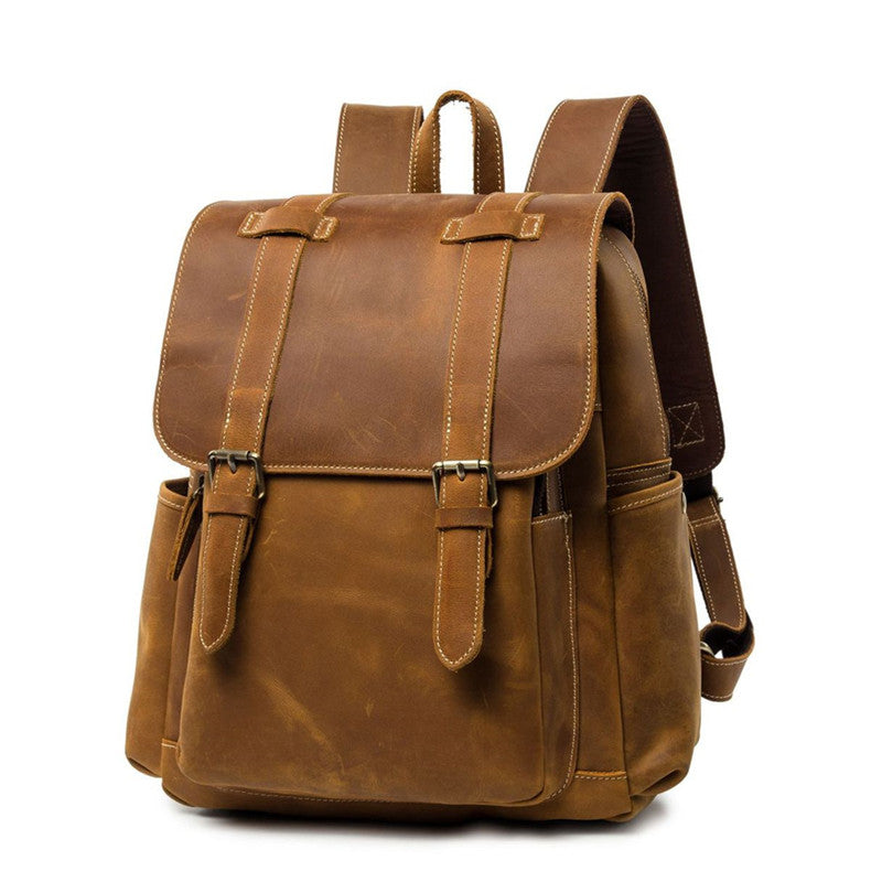 "Cool Brown Mens Leather Dark Brown 14"" Backpack Travel Backpack College Backpack for Men"