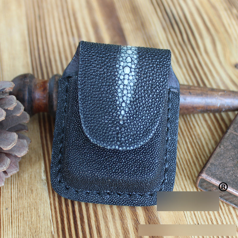 Mens Black Leather Classic Zippo Lighter Handmade Case Zippo Lighter Holder with Belt Loop