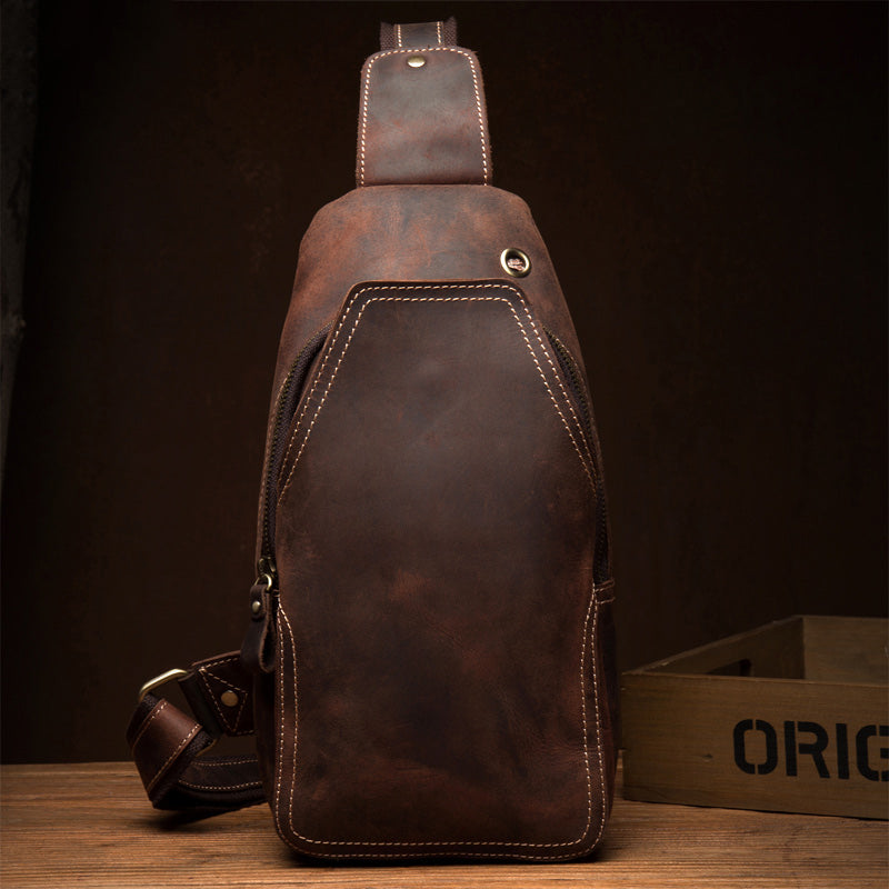 Casual Dark Brown Leather Mens Sling Pack Sling Bags Chest Bags One Shoulder Backpack for Men