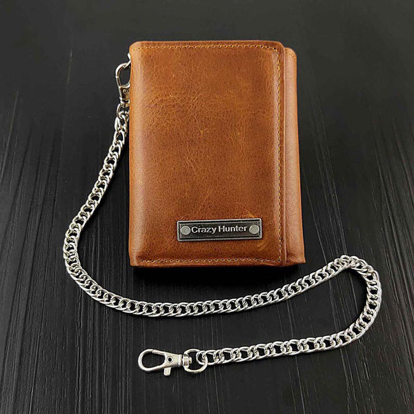 Cool  LEATHER MENS TRIFOLD SMALL BIKER WALLETS BROWN CHAIN WALLET WALLET WITH CHAINS FOR MEN
