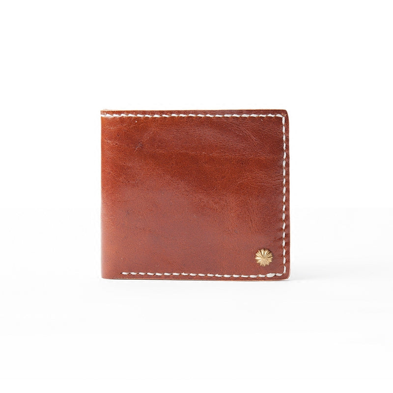 Red Brown Handmade Leather Mens billfold Wallet Bifold Small Wallets Front Pocket Wallet For Men