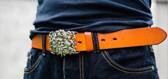 Handmade Leather Genuine Lotus Flower Mens Cool Men Biker Trucker Leather Belt