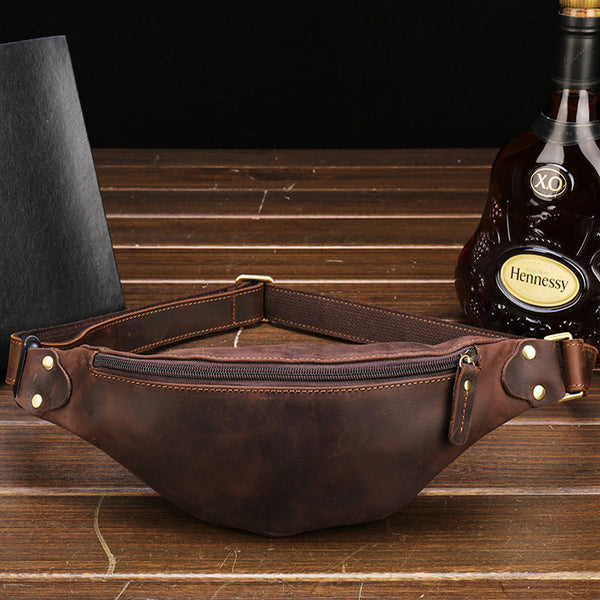 Simple Retro Leather Men's Waist Bag Chest Bag Shoulder Diagonal Bag For Men