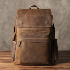 Genuine Leather Mens Cool Backpack Sling Bag Large Brown Travel Bag Hiking Bag for men