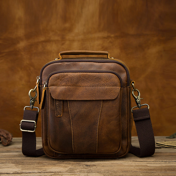 Vintage Brown Leather Mens Small Vertical Messenger Bag Side Bag Courier Bag Handbag For Men