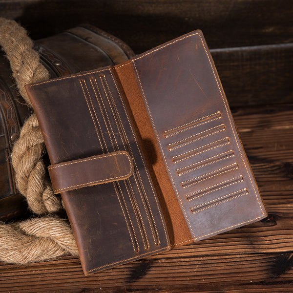 Vintage Brown Leather Men's Bifold Long Wallet Slim Multi Cards Long Wallet For Men