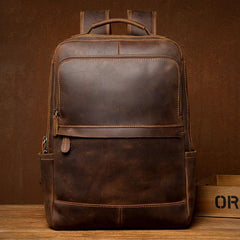 Black Casual Mens Leather 15-inch Computer Backpacks Brown Travel Backpacks School Backpacks for men