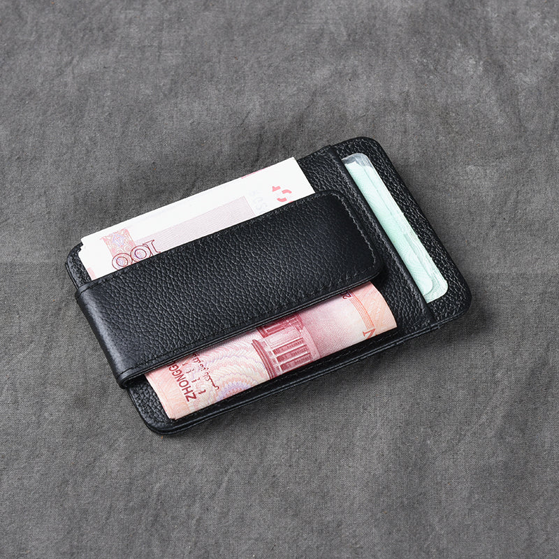 Black Leather Mens Front Pocket Wallet billfold Card Wallet Money Clip For Men