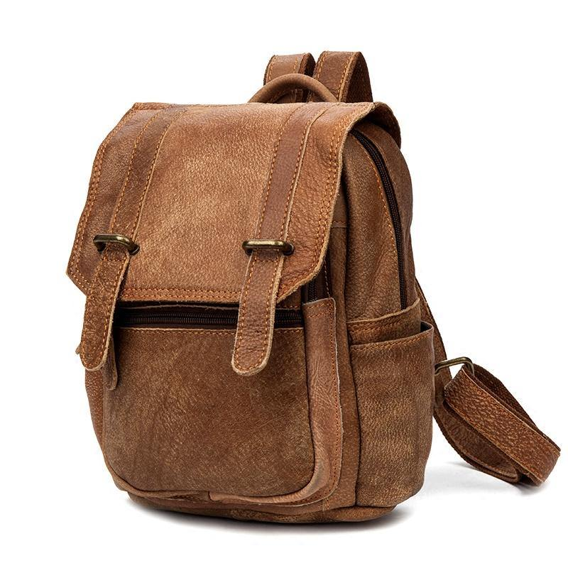 Brown Fashion Mens Leather 12-inch Small Computer Backpacks Laptop Backpacks School Backpack for men
