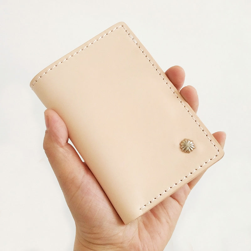 Handmade Vertical Mens Leather Beige billfold Small Wallet Cool Small Slim Bifold Wallets for Men