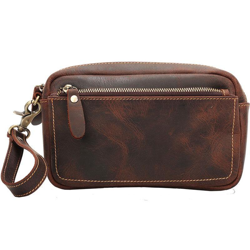 Vintage Dark Brown Leather Mens Phone Wallet Clutch Wallet Wristlet Bag Zipper Long Wallet For Men