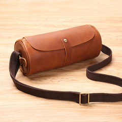 Black Leather Mens Brown Barrel Postman Bag Brown Bucket Messenger Bag Side Bag For Men