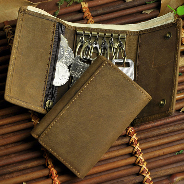 Cool Small Leather Mens Keys Wallet Car Keys Holder Car Key Case for Men