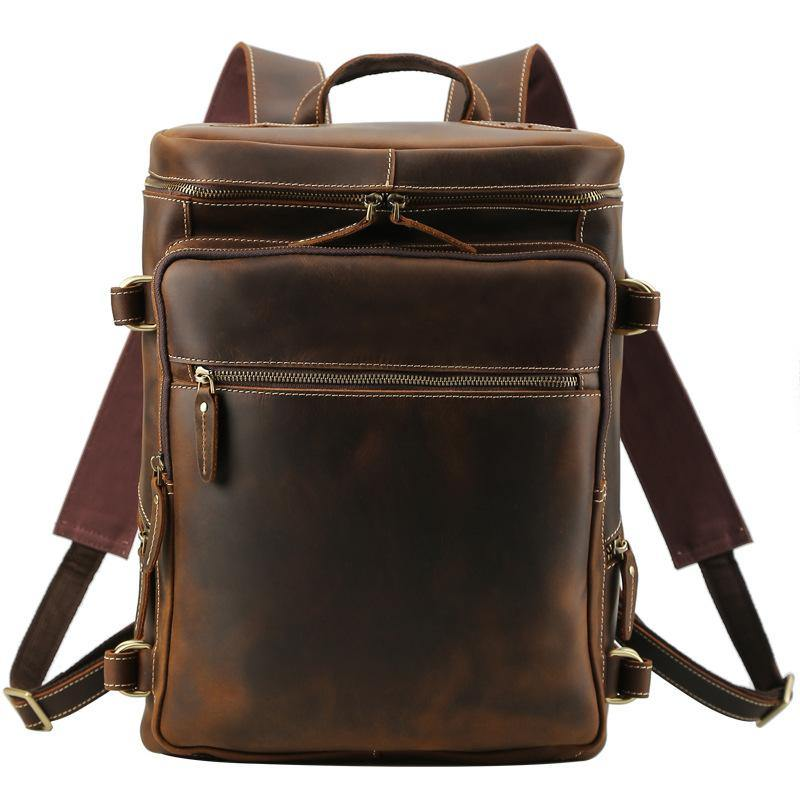 Brown Leather Men's 16 inches Large Computer Backpack Retro Large Travel Backpack Large College Backpack For Men