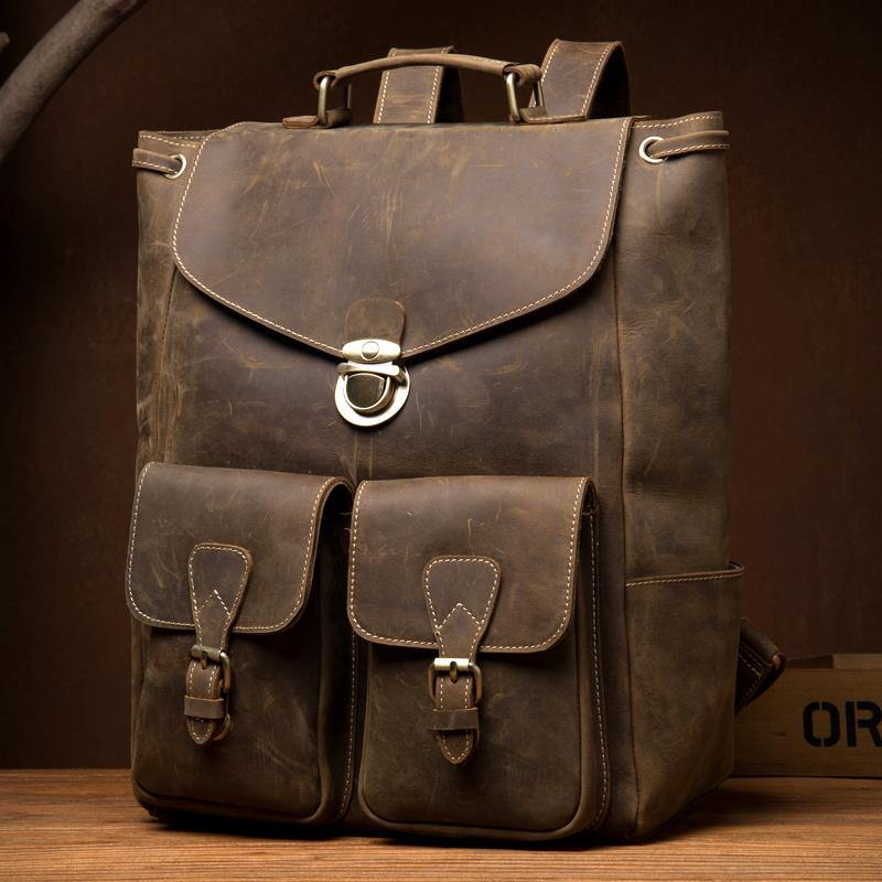 Brown Casual Mens Leather 15-inch Large Backpack Black Travel Backpacks School Backpacks for men