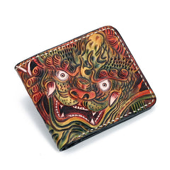 Handmade Leather Chinese Lion Tooled Mens Short Wallet Cool Leather Wallet Slim Wallet for Men