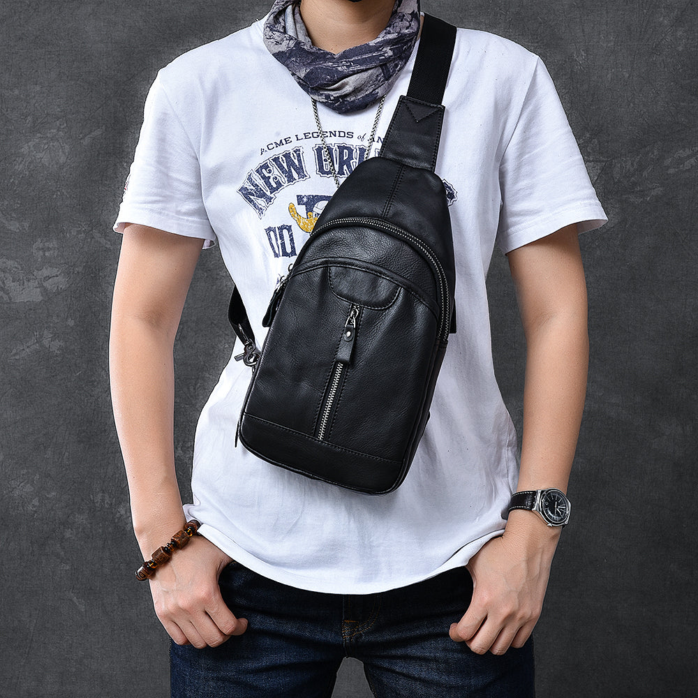 "Cool Leather Mens 8"" Black Sling Bag Chest Bag One Shoulder Backpack for Men"